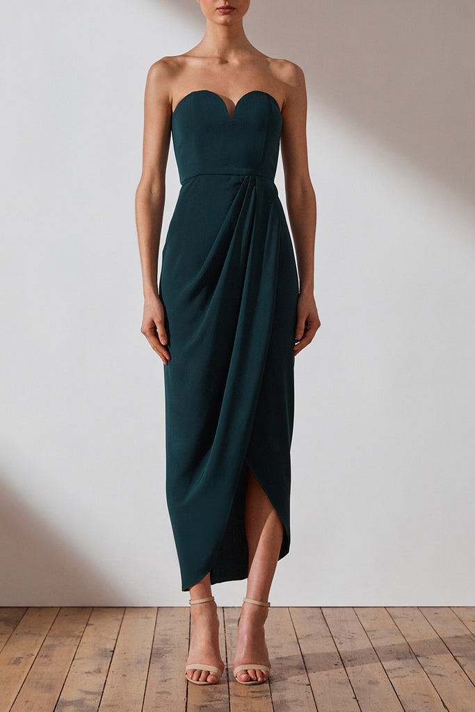 CORE 'U' BUSTIER DRAPED DRESS - SEAWEED