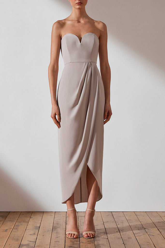 CORE 'U' BUSTIER DRAPED DRESS - OYSTER