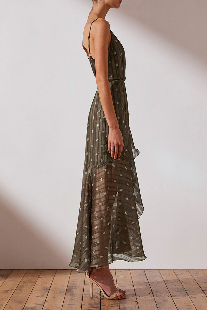 REED COCKTAIL WRAP MIDI DRESS