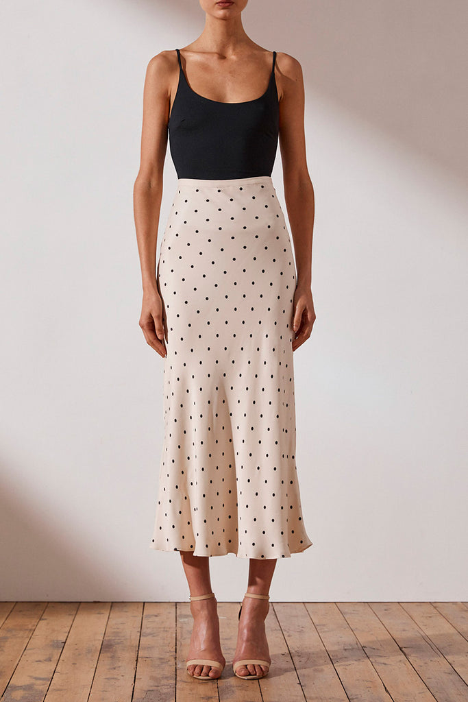 O'DELL BIAS MIDI SKIRT - BONE