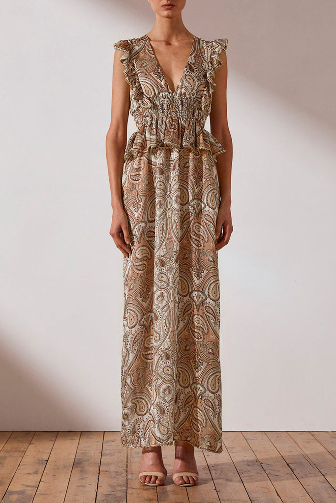 PALLENBERG SHIRRED MAXI DRESS