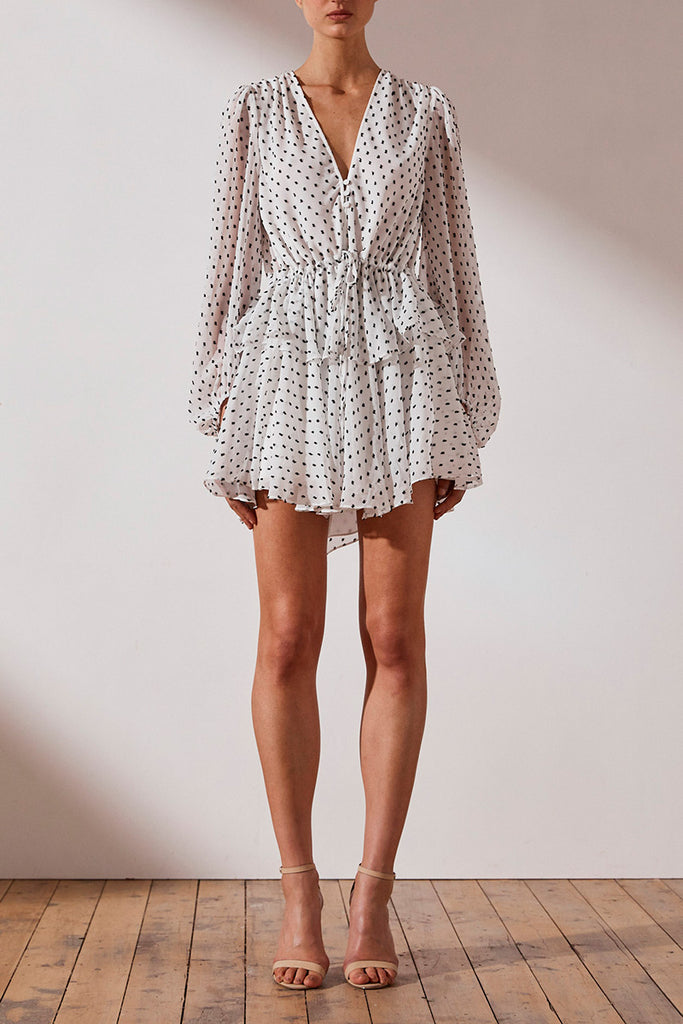 WILDER PUFF SLEEVE DRAWSTRING MINI DRESS