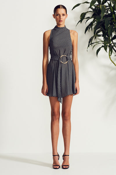 LA LUNA HIGH NECK MINI DRESS WITH RINGS
