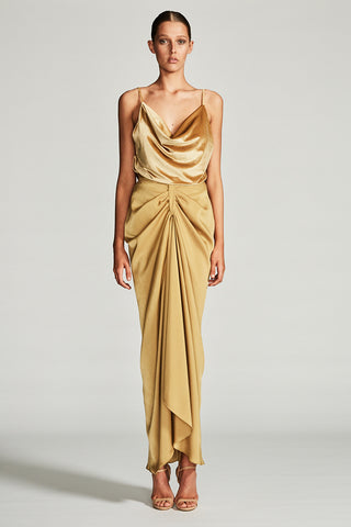 GEMINI DRAPED MAXI SKIRT