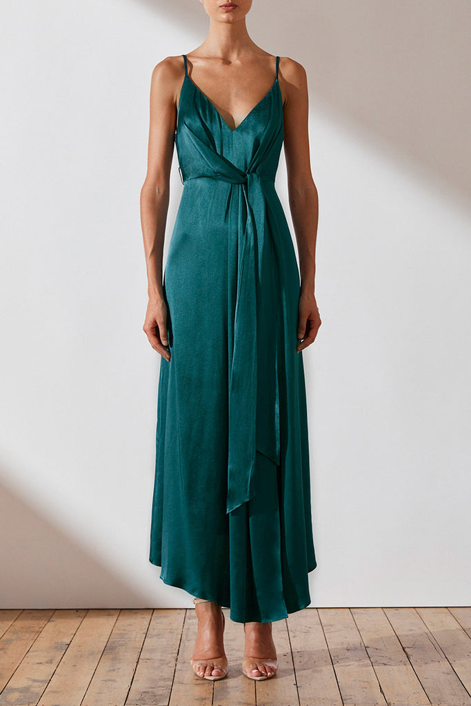 GISELE DRAPED MIDI DRESS - JADE