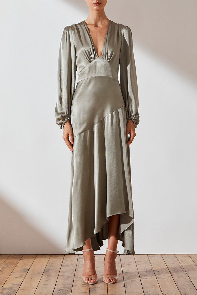 JOAN PLUNGED MIDI DRESS - SAGE