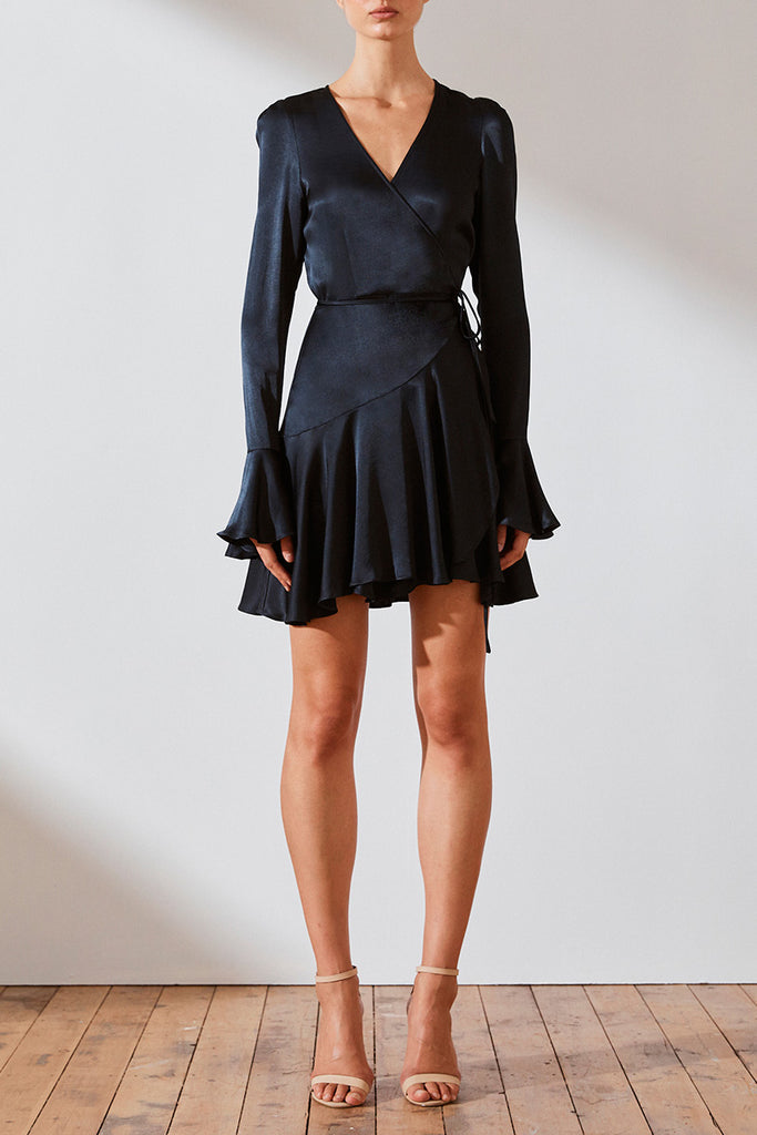 MORRISON WRAP MINI DRESS - NAVY