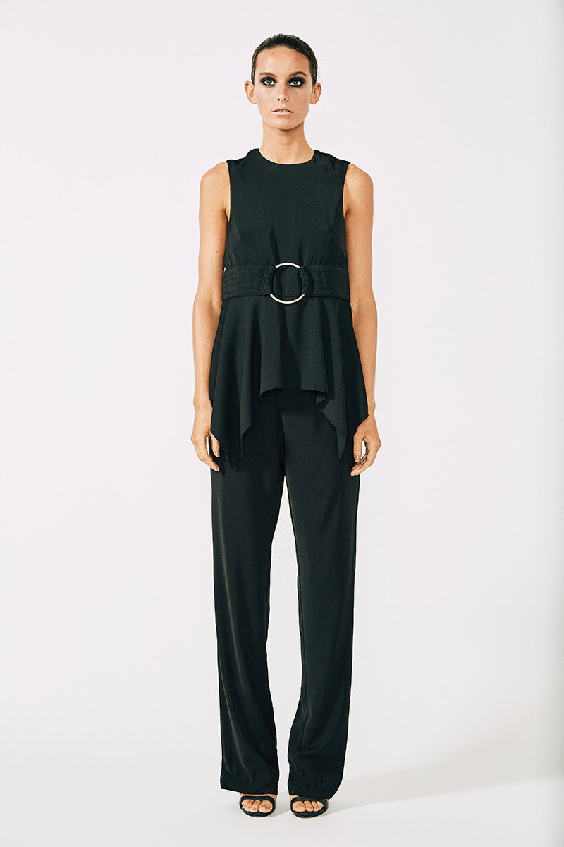 VOLTAIRE HANDKERCHIEF TOP WITH RING - BLACK