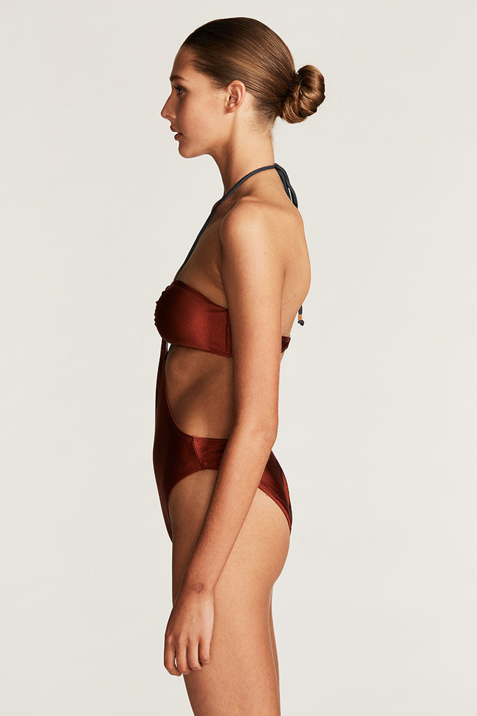 ACAPULCO BANDEAU HIGH CUT ONE PIECE - RUST