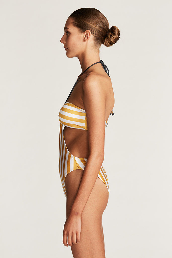 ACAPULCO BANDEAU HIGH CUT ONE PIECE - ANTIQUE GOLD STRIPE