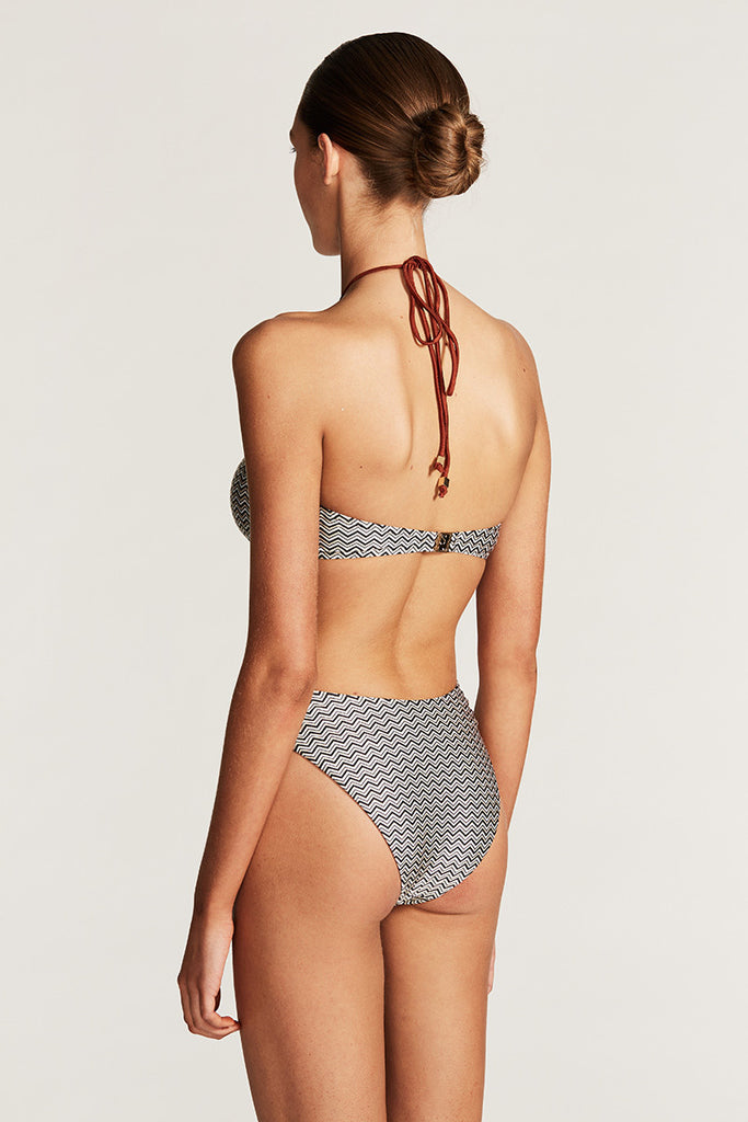 ACAPULCO BANDEAU HIGH CUT ONE PIECE - CHEVRON