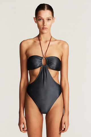 ACAPULCO BANDEAU HIGH CUT ONE PIECE - BLUE CHARCOAL