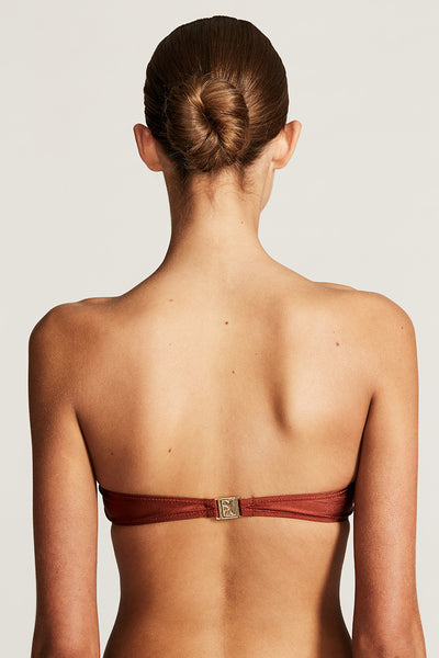 RIVIERA TWISTED BANDEAU TOP - RUST