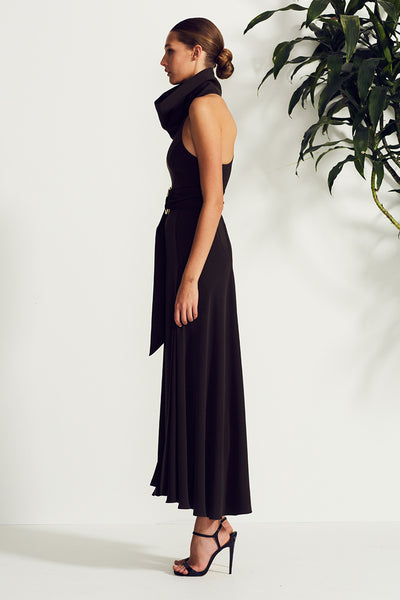ZELDA FUNNEL NECK RACER MAXI WITH RINGS - DEEP OLIVE