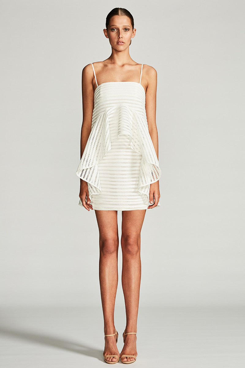 PEGASUS FRILL MINI DRESS - IVORY