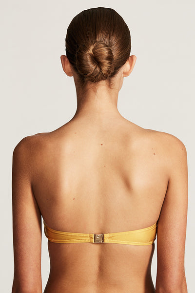 RIVIERA TWISTED BANDEAU TOP - GOLD