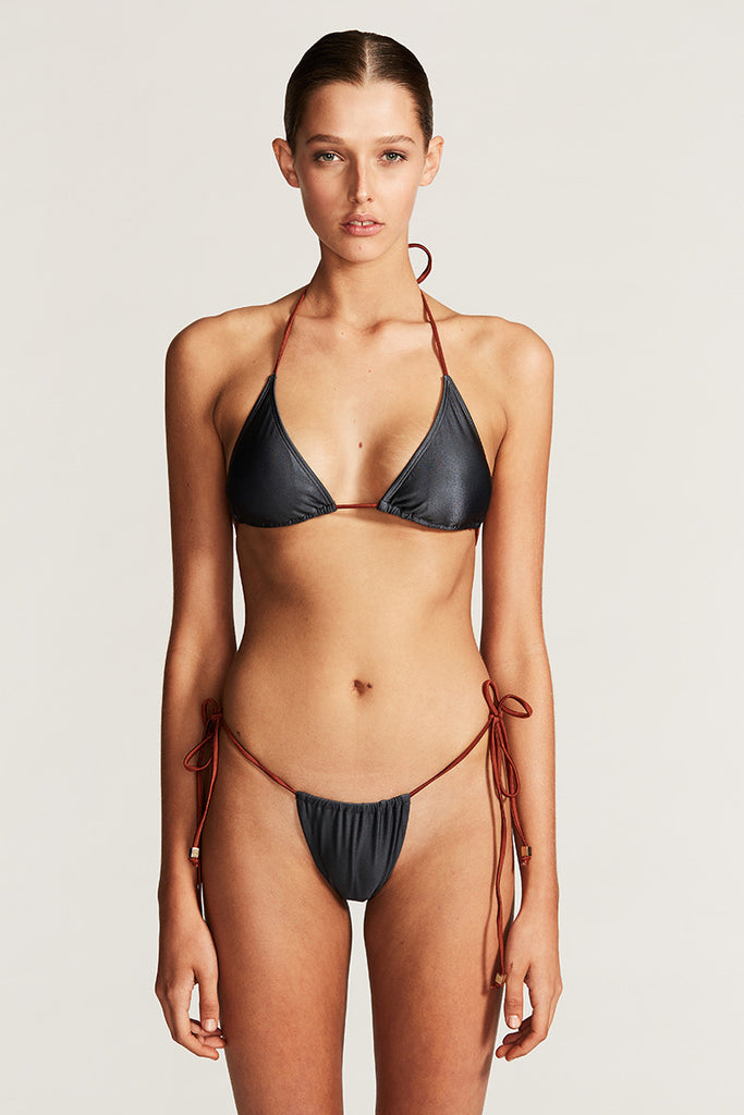 CANNES TRIANGLE BIKINI TOP - BLUE CHARCOAL