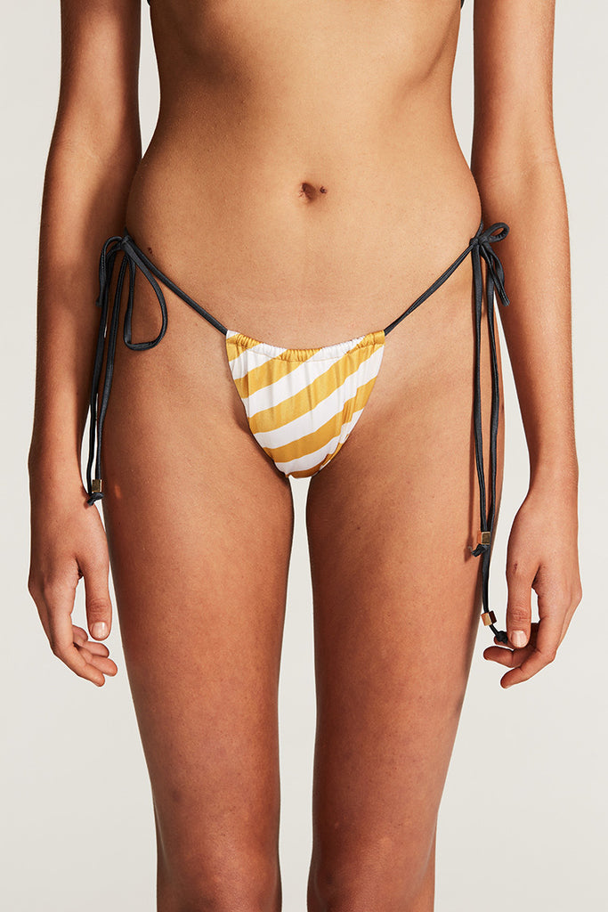 RIO TIE BIKINI BOTTOM - ANTIQUE GOLD STRIPE