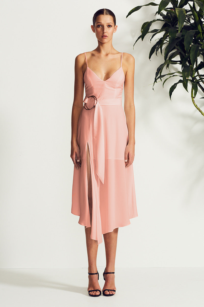 ZELDA COCKTAIL DRESS WITH RINGS - DUSTY PINK