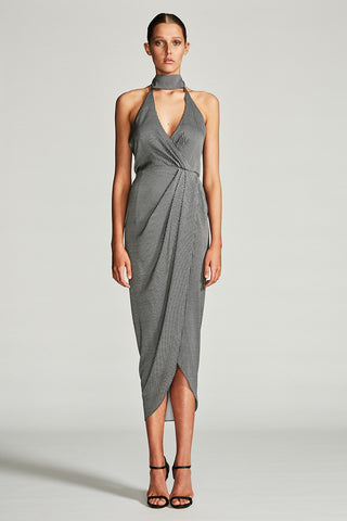 MIRAGE STAND COLLAR DRAPED MAXI DRESS