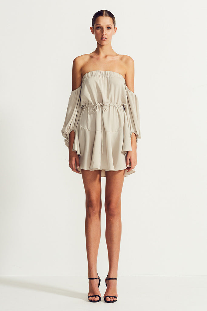 CORE OFF THE SHOULDER MINI DRESS - OYSTER
