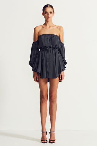 CORE OFF THE SHOULDER MINI DRESS - CHARCOAL