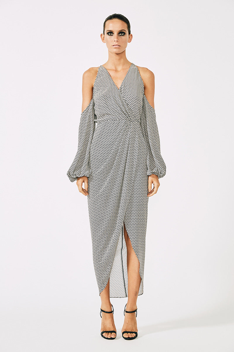 ETIENNE OPEN SHOULDER DRAPED MAXI