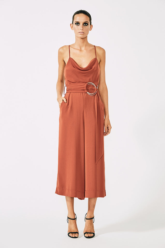 VOLTAIRE COWL JUMPSUIT WITH RINGS - RUST