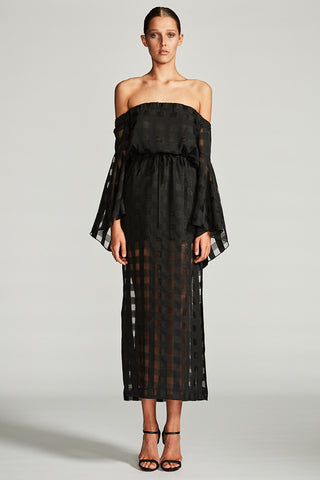 PERSEUS FLARED SLEEVE MIDI DRESS