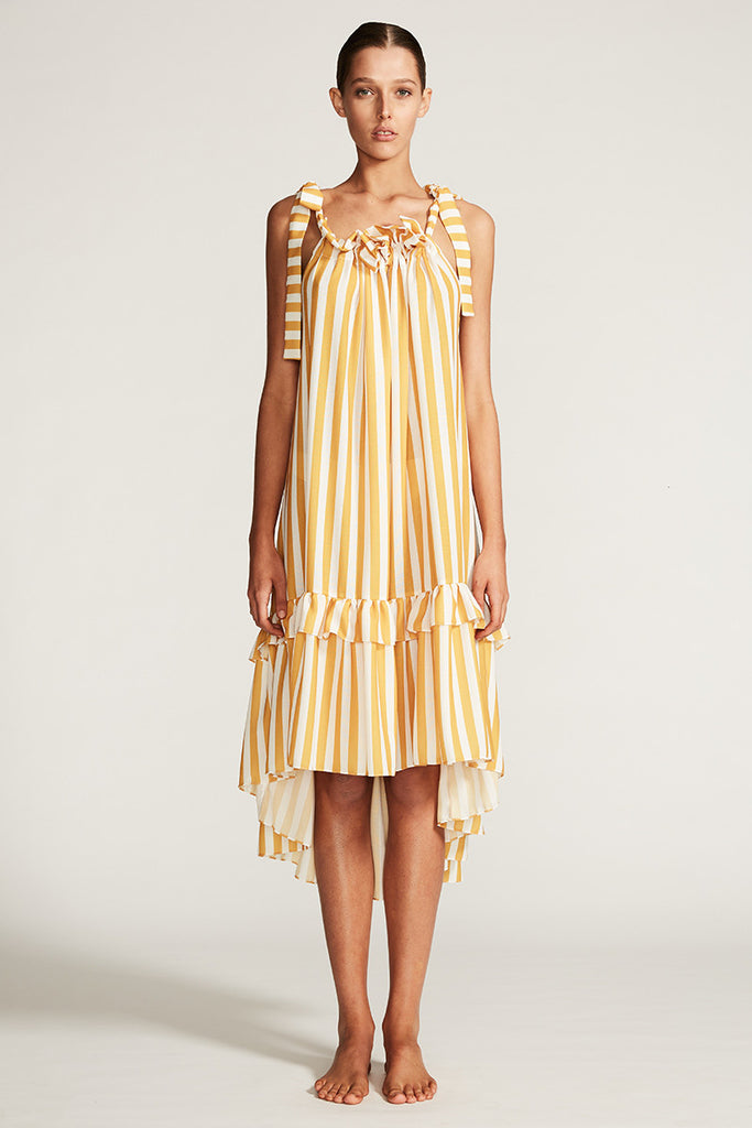 CAPRI TRAPEZE SUN DRESS - ANTIQUE GOLD STRIPE