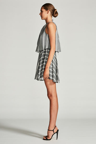 PHOENIX LAYERED DRAWSTRING MINI DRESS