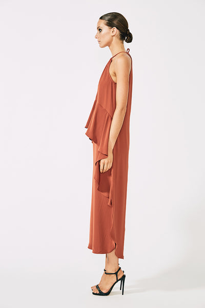 VOLTAIRE RUCHED RUFFLE MIDI DRESS - RUST