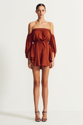 CORE OFF THE SHOULDER MINI DRESS - RUST