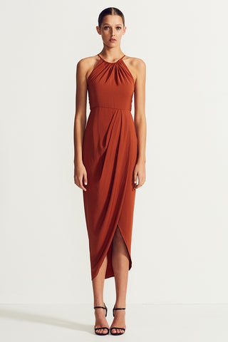 CORE HIGH NECK RUCHED DRESS - RUST