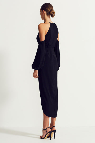 CORE OPEN SHOULDER MAXI - BLACK