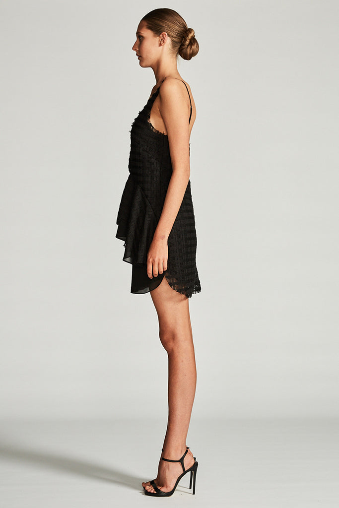 VENUS FRILL MINI DRESS - BLACK
