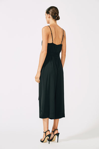 VOLTAIRE COWL JUMPSUIT WITH RINGS - BLACK