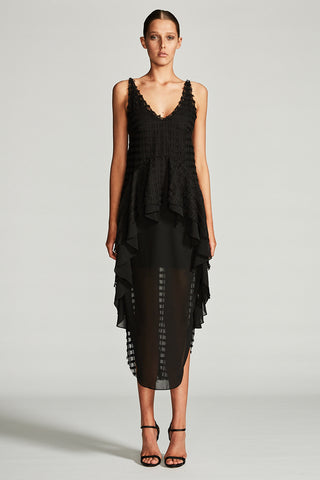 VENUS FRILL MIDI DRESS - BLACK