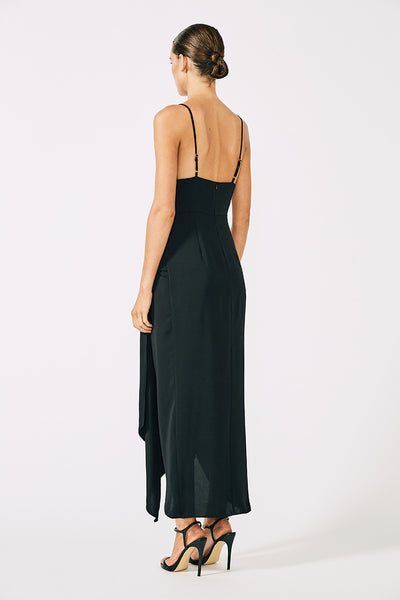 VOLTAIRE COCKTAIL DRAPED MIDI DRESS - BLACK