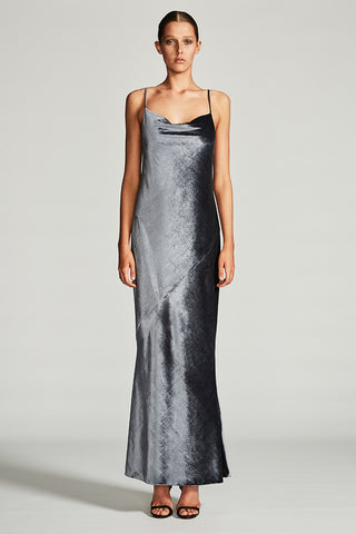 ELECTRA BIAS SLIP MAXI DRESS - CHARCOAL