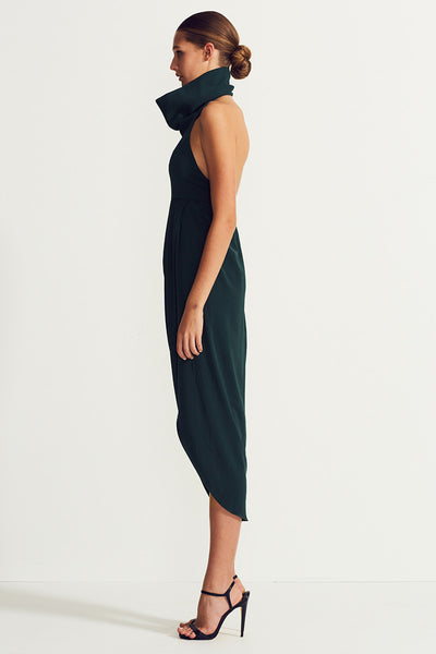 CORE FUNNEL NECK BACKLESS MAXI - SEAWEED
