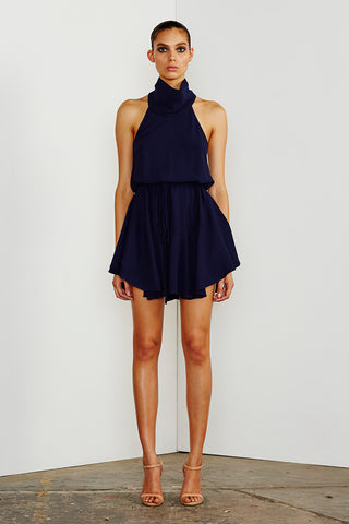CORE HIGH NECK DRAWSTRING DRESS - NAVY