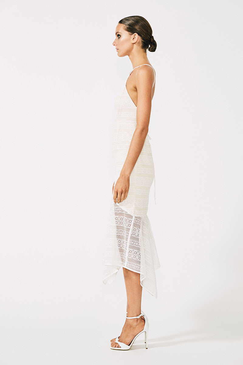 MOLIERE LACE UP MIDI DRESS - WHITE
