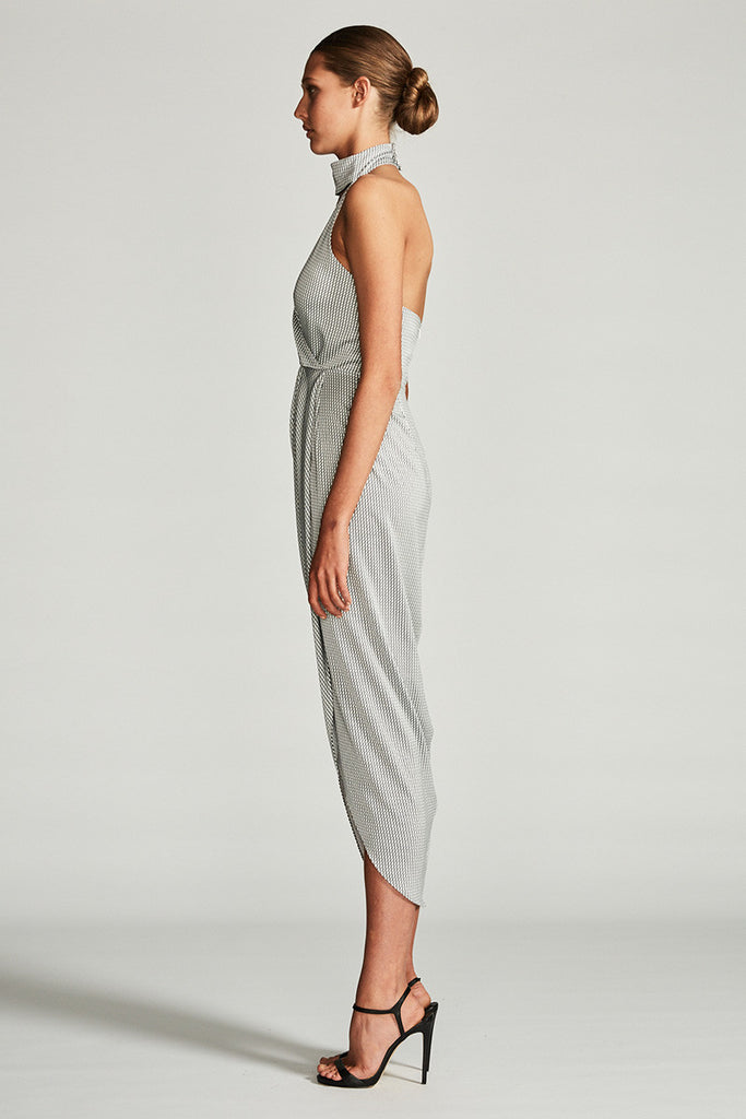 AURORA STAND COLLAR DRAPED MAXI DRESS
