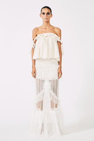 MOLIERE RUFFLED MAXI SKIRT - WHITE