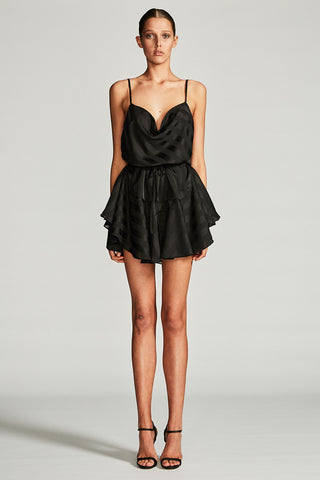 ANDROMEDA COWL MINI DRESS - BLACK
