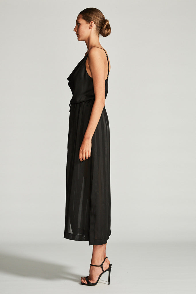 ANDROMEDA COWL DRAWSTRING MIDI DRESS - BLACK