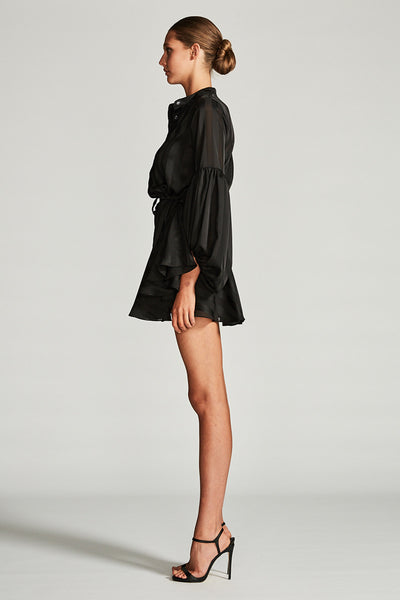 ANDROMEDA PEASANT MINI DRESS - BLACK