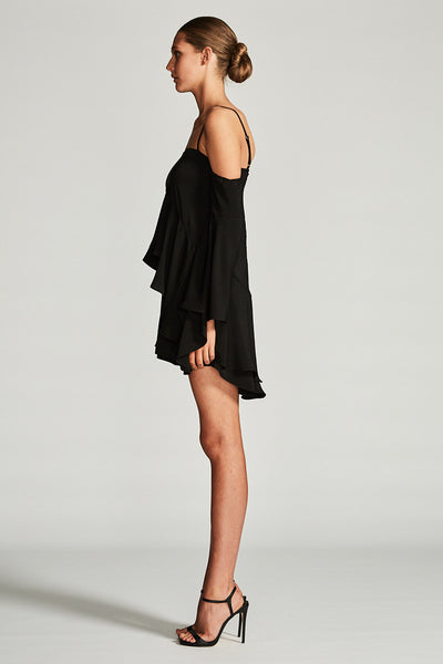 CASSIOPEA LAYERED FRILL MINI DRESS - BLACK
