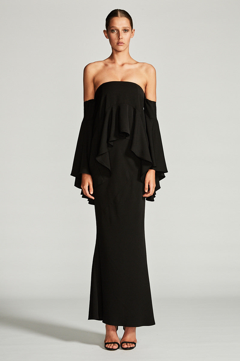 CASSIOPEA LAYERED FRILL MAXI DRESS - BLACK